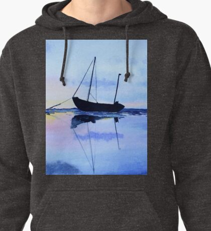 Single Boat Seascape Pullover Hoodie