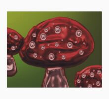 Red Autumn Toadstool Childrens Art with Spots One Piece - Short Sleeve