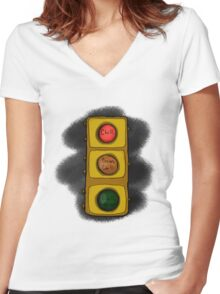 Chill Brian Stoplight Women's Fitted V-Neck T-Shirt
