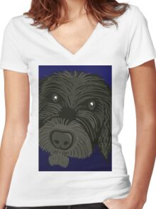 Scruffy Dog Women's Fitted V-Neck T-Shirt