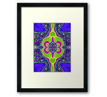 Trippy Neon Green Blue Fractal Design  Framed Print