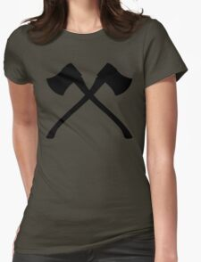 Axe Crossing Simple Womens Fitted T-Shirt