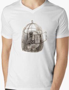 Black Owl in a Birdcage Mens V-Neck T-Shirt