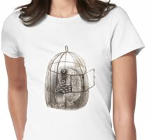 Black Owl in a Birdcage Womens Fitted T-Shirt