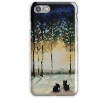 Scottie Dogs,'Winter Evening' iPhone Case/Skin