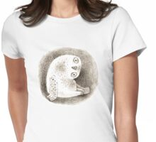 Snowy Owl Sitting In a Hollow Womens Fitted T-Shirt