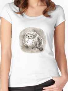 Great Grey Owl Sleeping In a Hollow Women's Fitted Scoop T-Shirt