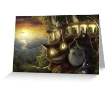 Totoro and Cat bus Greeting Card