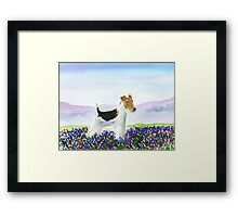 Wire Fox Terrier'Spring Flowers' Framed Print