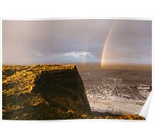 Rainbow and stormy sky at sunset. Sheringham, Norfolk, UK. Poster