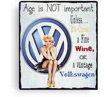 Vintage Cheese wine & Volkswagen Canvas Print
