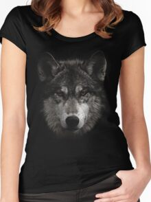 Halftone Wolf Animal Women's Fitted Scoop T-Shirt