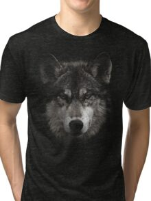 Halftone Wolf Animal Tri-blend T-Shirt