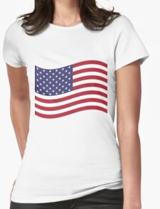 American Flag Waving  Womens Fitted T-Shirt