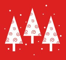 Red christmas trees pattern One Piece - Short Sleeve