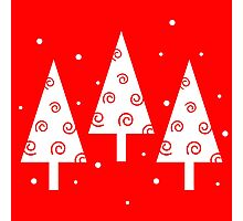 Red christmas trees pattern Photographic Print