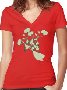 Flowers in Hand Women's Fitted V-Neck T-Shirt