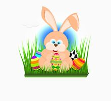 Cartoon easter rabbit on grass holding an easter egg Unisex T-Shirt