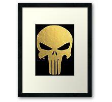 The Punisher Skull Gold Texture Framed Print