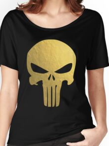 The Punisher Skull Gold Texture Women's Relaxed Fit T-Shirt