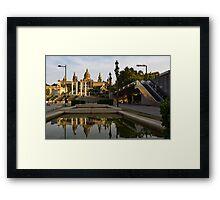 Barcelona Street Glow - Golden Light Reflections on Avinguda de la Reina Maria Cristina Framed Print