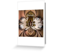 Kaleidoscope view of gothic church interior, little planet effect of panoramic shot.  Greeting Card