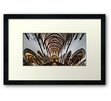 Panoramic interior view of medieval church in Ribeauville, Alsace, France Framed Print