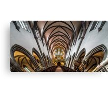 Panoramic interior view of medieval church in Ribeauville, Alsace, France Canvas Print