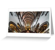 Panoramic interior view of medieval church in Ribeauville, Alsace, France Greeting Card