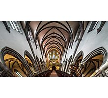 Panoramic interior view of medieval church in Ribeauville, Alsace, France Photographic Print