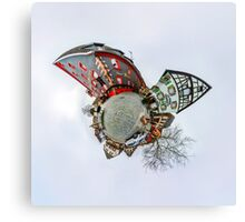 Funny street view of little french village. Curvature of space, little planet effect, panoramic view. Canvas Print