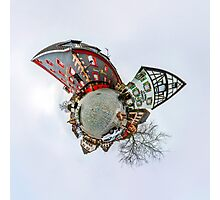 Funny street view of little french village. Curvature of space, little planet effect, panoramic view. Photographic Print