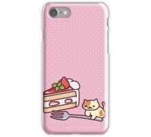 Neko Atsume - Peaches with strawberry cake iPhone Case/Skin