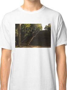 Joyful, Sunny Splashes - Wide Steps and Blue and Yellow Cascades - Montjuic Park, Barcelona, Spain Classic T-Shirt