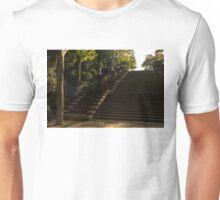 Joyful, Sunny Splashes - Wide Steps and Blue and Yellow Cascades - Montjuic Park, Barcelona, Spain Unisex T-Shirt