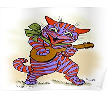 Louis Wain - Cat with small banjo Poster