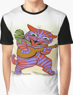Louis Wain - Cat with small banjo Graphic T-Shirt