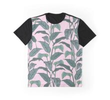 Pink Leaf Graphic T-Shirt
