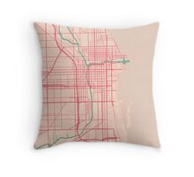 Chicago Map (Spring)  Throw Pillow