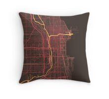 Chicago Map (Summer) Throw Pillow