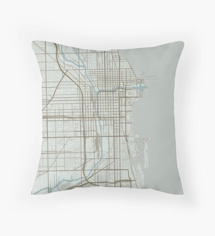 Chicago Map (Winter) Throw Pillow