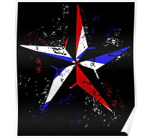 American Flag Nautical Star - Grunge Poster