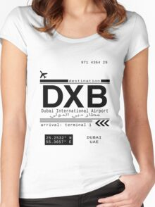 DXB Dubai International Airport Call Letters Women's Fitted Scoop T-Shirt