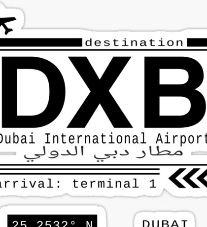 DXB Dubai International Airport Call Letters Sticker