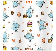 Pattern with hippos. Poster
