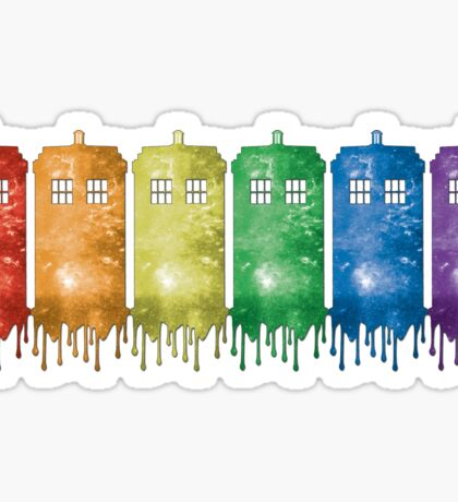 Rainbow Galaxy Tardis Sticker