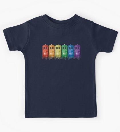 Rainbow Galaxy Tardis Kids Tee