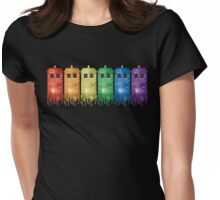 Rainbow Galaxy Tardis Womens Fitted T-Shirt