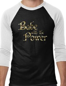 Labyrinth Babe With The Power (black bg) Men's Baseball ¾ T-Shirt