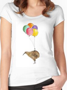 Kiwi flying with balloons Women's Fitted Scoop T-Shirt